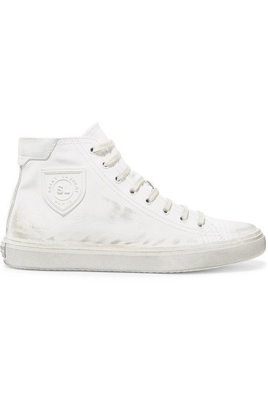 Saint Laurent | Bedford logo-appliqued distressed leather high-top sneakers | NET-A-PORTER.COM