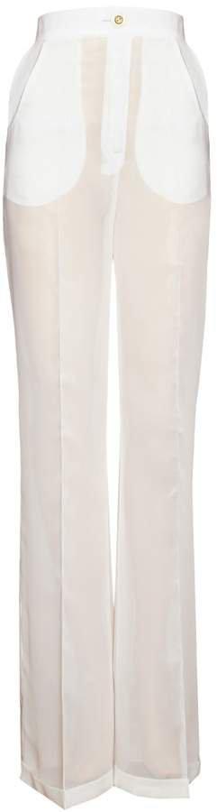 JIRI KALFAR - White Silk Chiffon Trousers With Crease