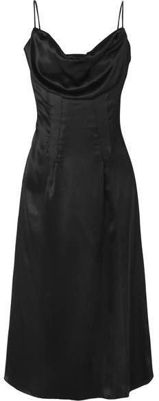 Draped Silk-satin Dress - Black