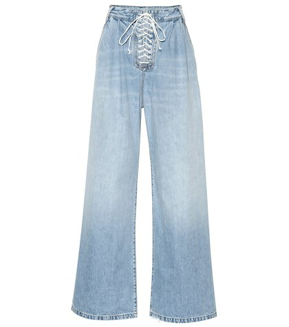 Lace-up high-rise wide-leg jeans
