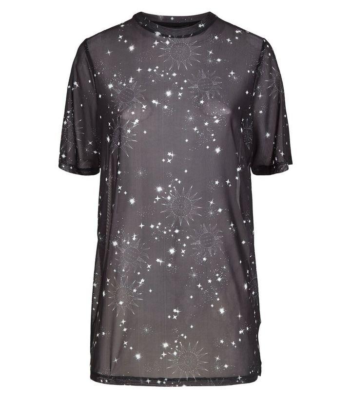Black Cosmic Print Mesh T-Shirt   New Look