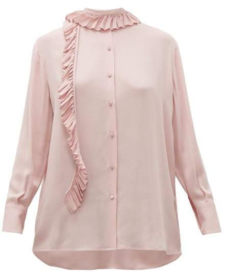 Ruffle Trim Silk Georgette Blouse - Womens - Pink