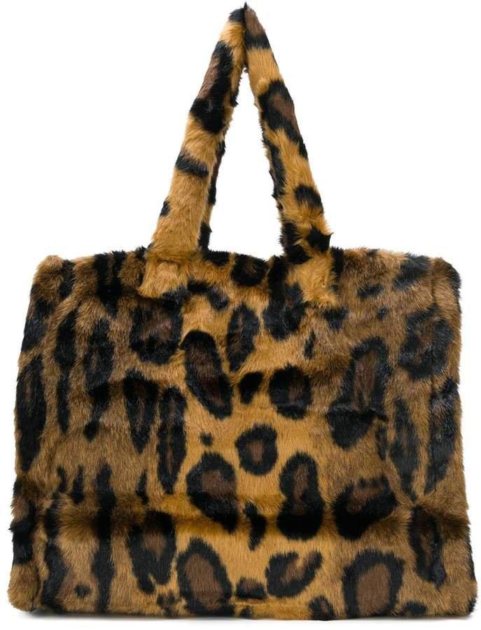 STAND STUDIO furry leopard print tote