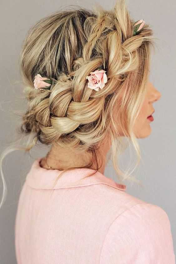 crown braid with flowers