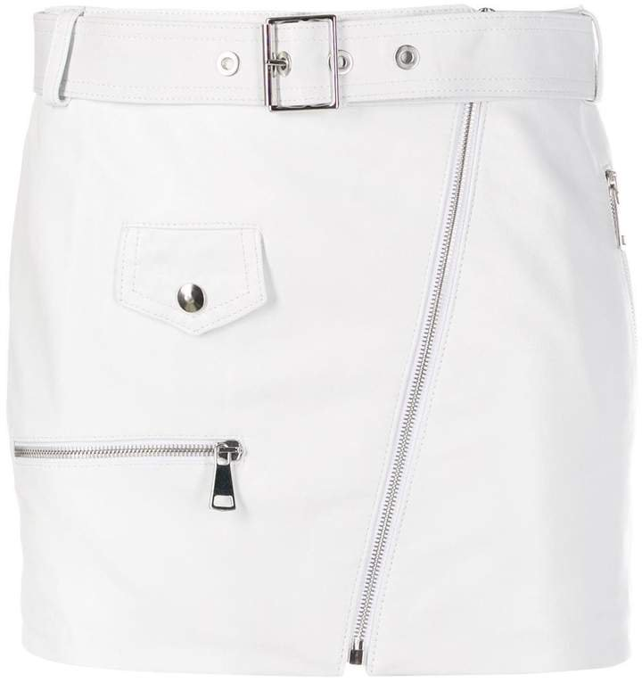 Manokhi Biker belted mini skirt