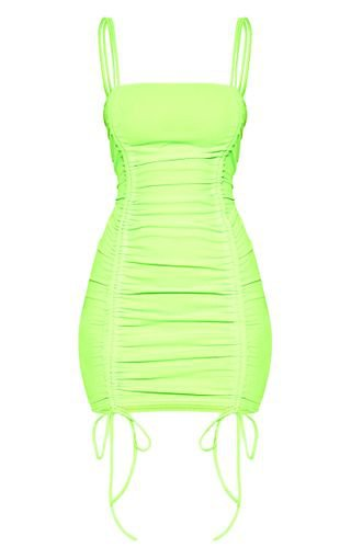Neon Lime Ruched Front Strappy Bodycon Dress | PrettyLittleThing