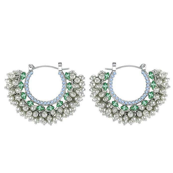 Pearl Hoop Earrings, Bohemian Layered Beads Statement Drop Earrings Prom Jewelry, Grey: Clothing