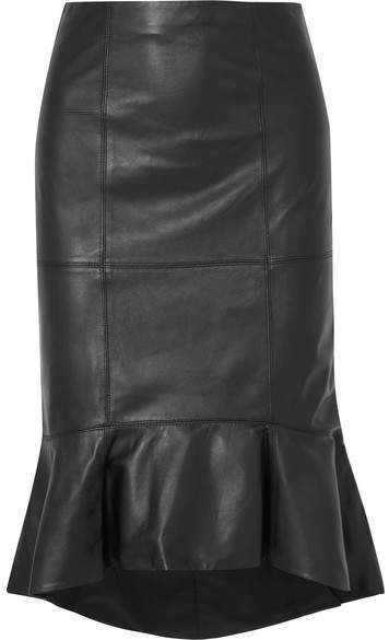 Alice Olivia - Kina Ruffled Leather Skirt - Black
