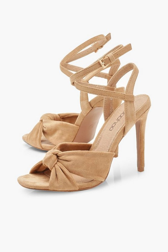 Knot Front Square Toe Heels | Boohoo