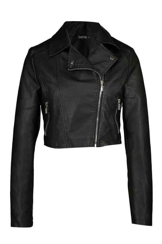 Cropped Faux Leather Biker Jacket | Boohoo black