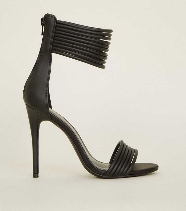 Black Leather-Look Tube Strap Stiletto Sandals | New Look