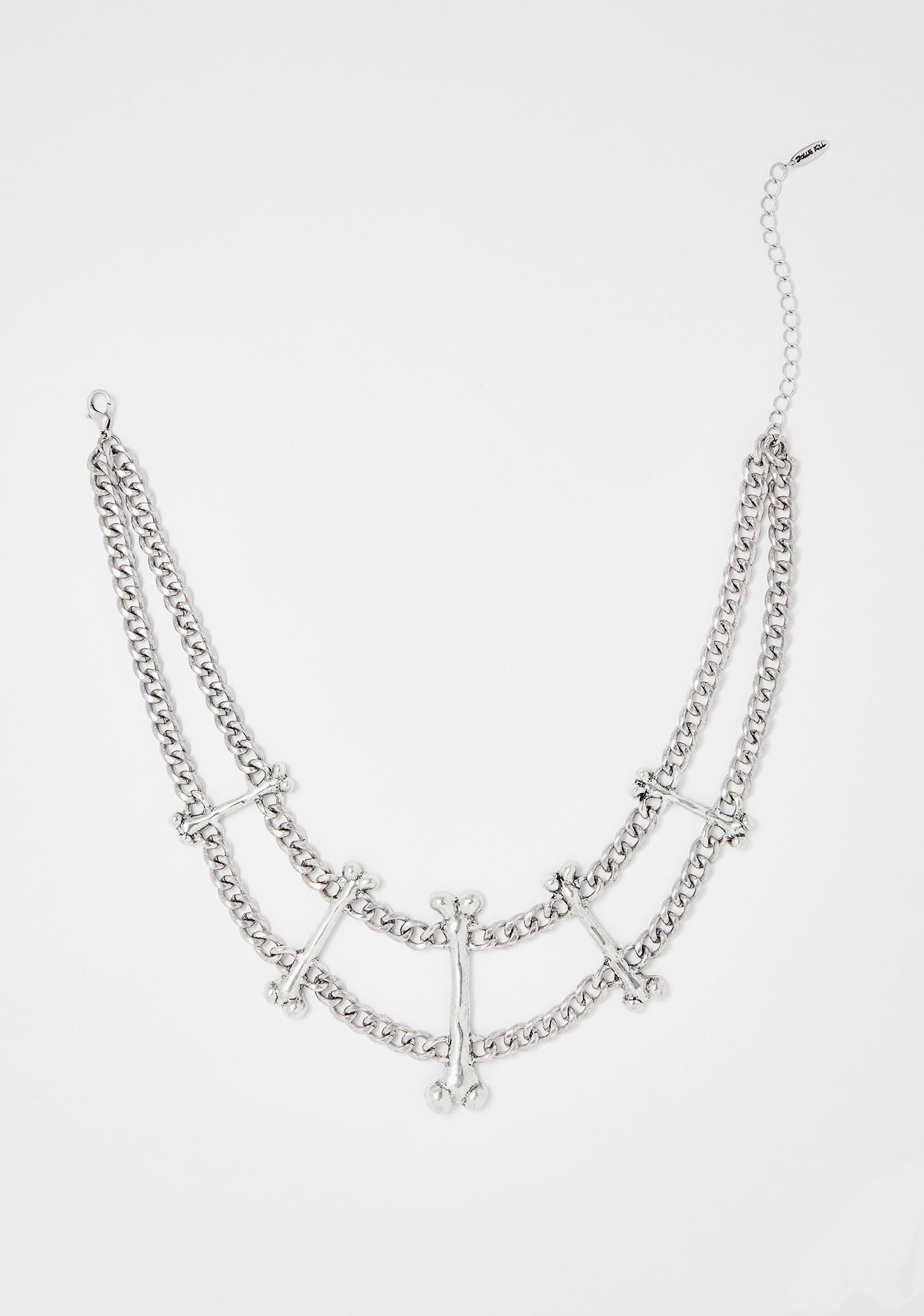 Widow Silver Bone Chain Necklace | Dolls Kill