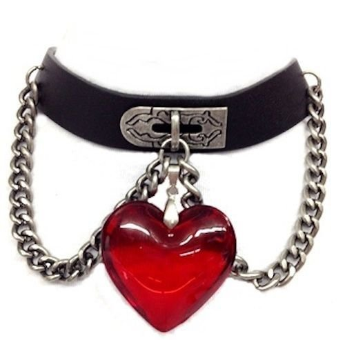 Gothic Black Leather Red Heart Crystal Choker