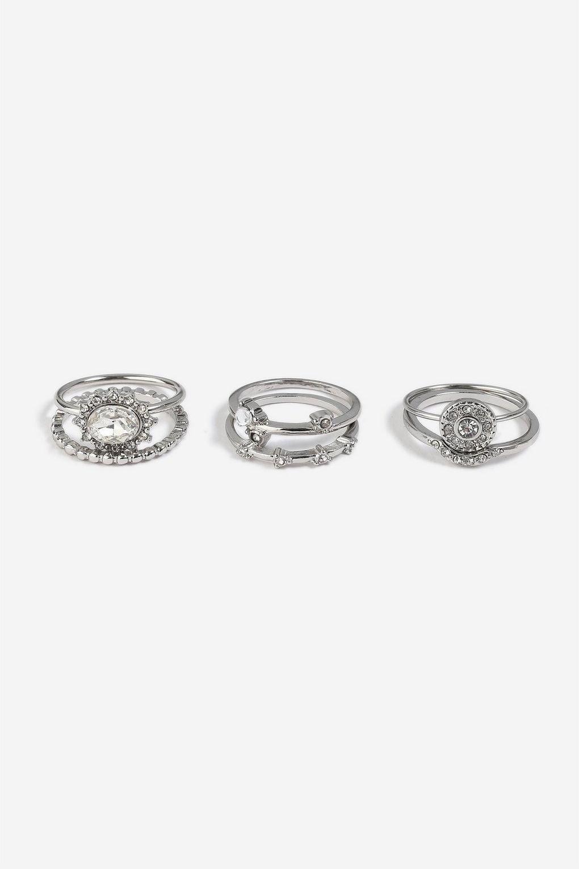 **6 Pack Rhodium Rings - Jewellery - Bags & Accessories - Topshop
