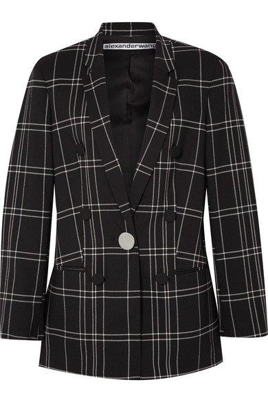 Alexander Wang | Leather-trimmed checked woven blazer | NET-A-PORTER.COM
