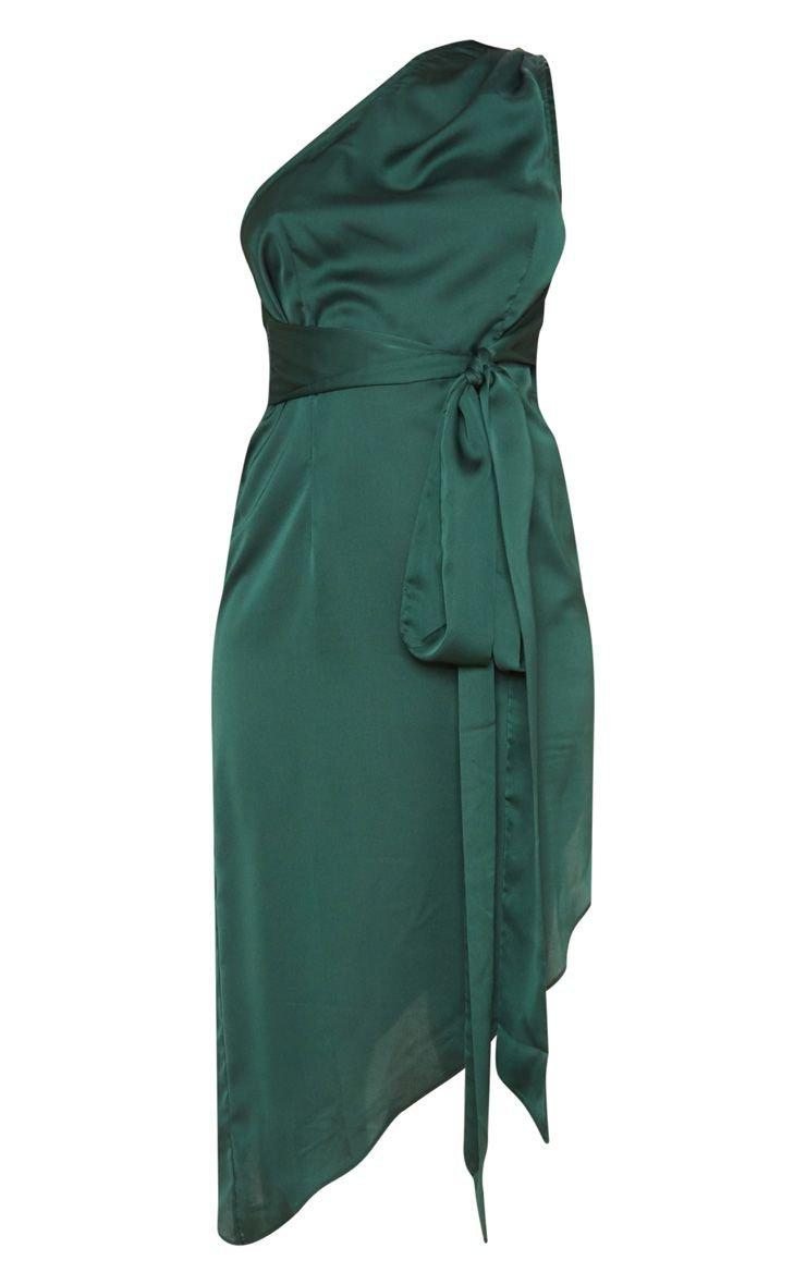 Emerald Green Asymmetric Hem Mi | Dresses | PrettyLittleThing USA