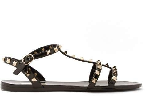 Rockstud Caged Pvc Sandals - Womens - Black