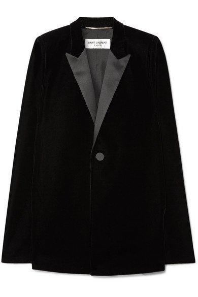 Saint Laurent   Satin-trimmed velvet cape   NET-A-PORTER.COM