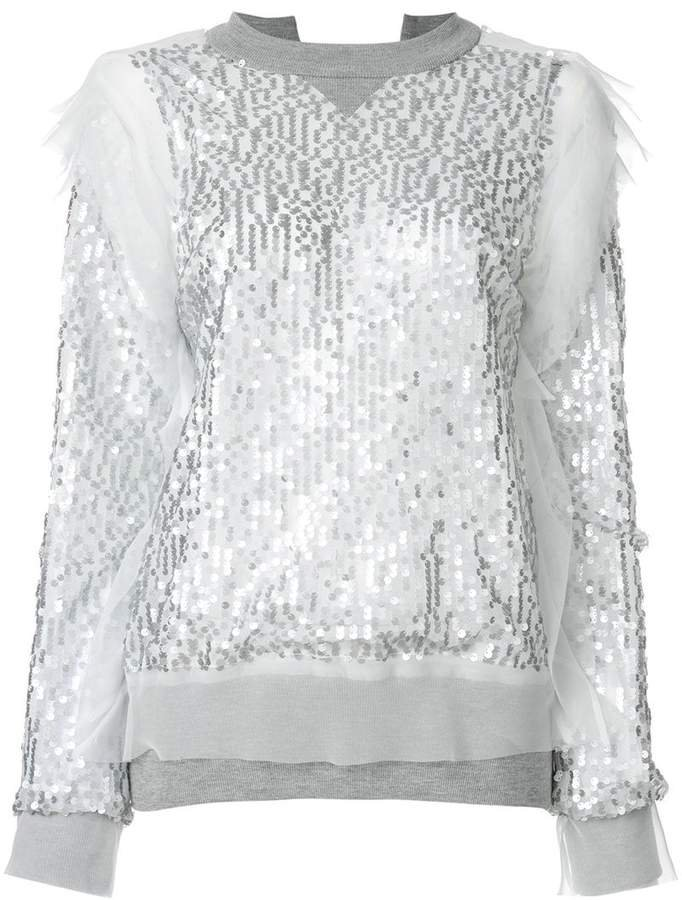 sequin embroidered sweatshirt