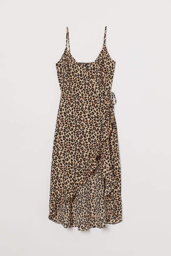 Flounced Wrap Dress - Beige