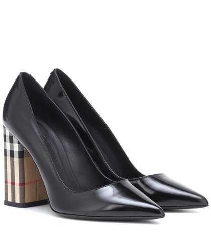 Vintage Check and leather pumps