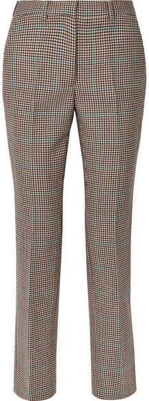 Houndstooth Wool Slim-leg Pants - Brown