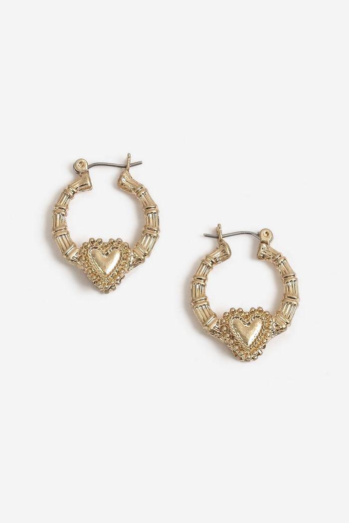 Textured Heart Small Hoop Earrings | Topshop