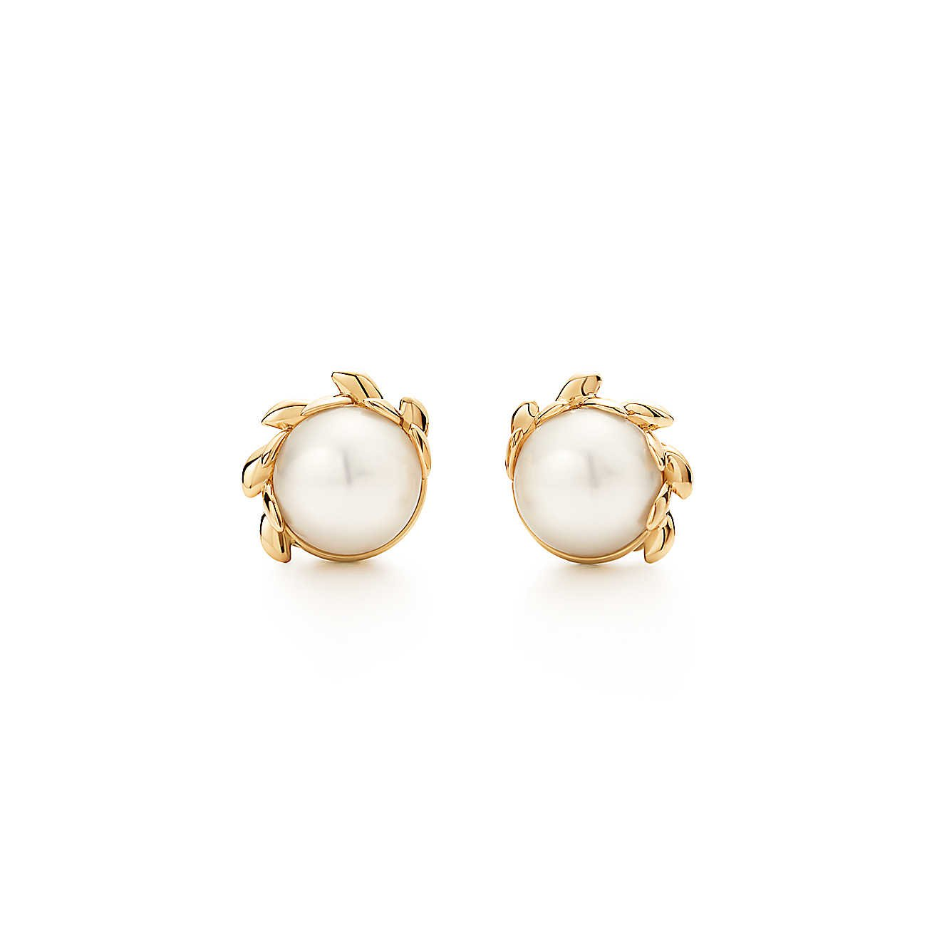 paloma picasso olive leaf pearl earrings