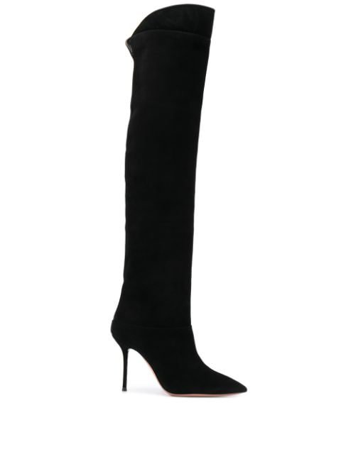 Black Aquazzura Over The Knee Boots | Farfetch.com