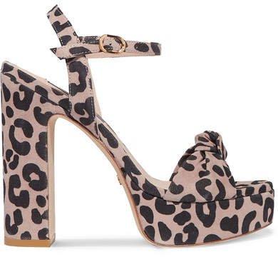 Mirri Knotted Leopard-print Suede Platform Sandals - Leopard print