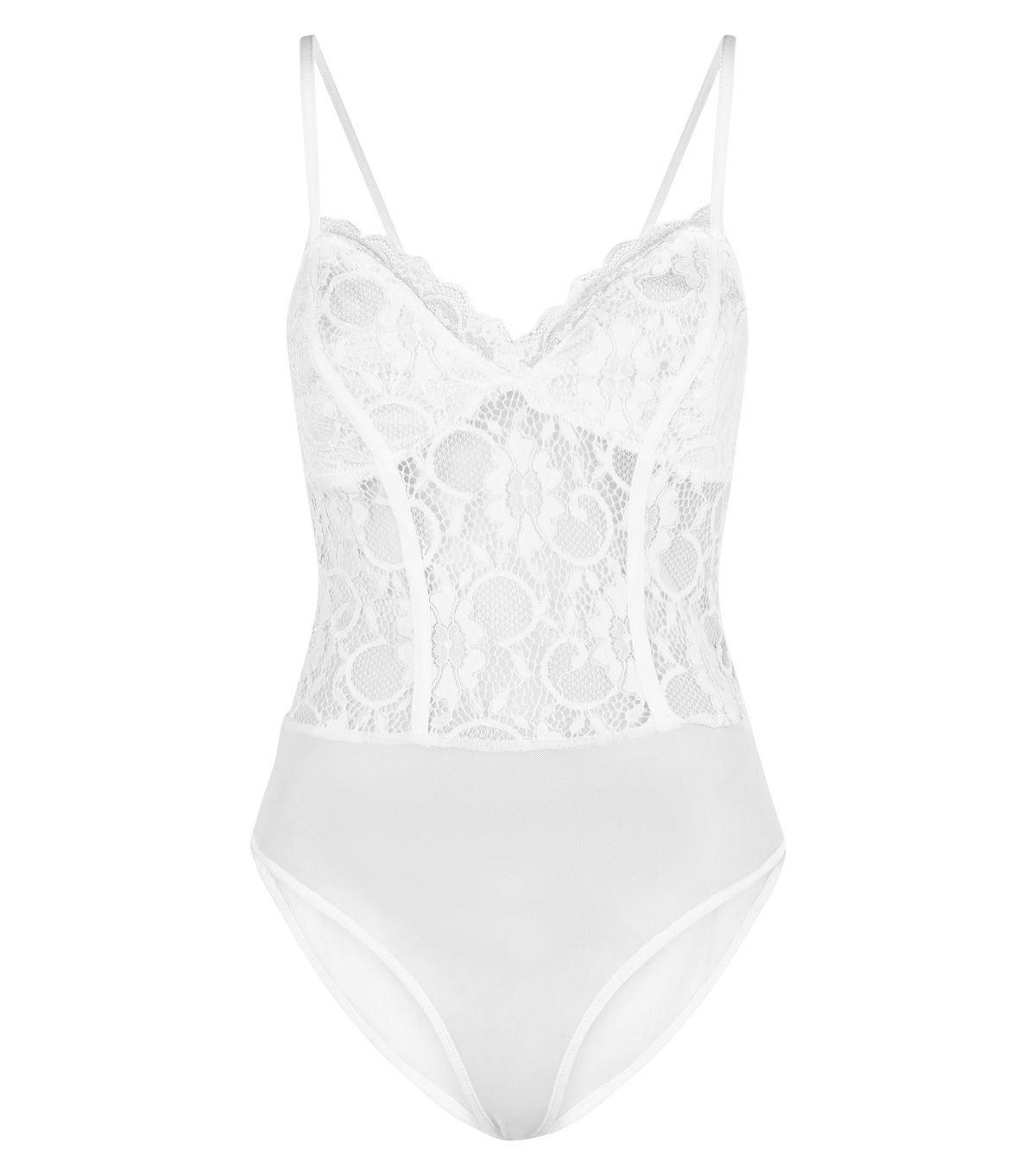 Cream Sweetheart Neck Lace Bodysuit | New Look