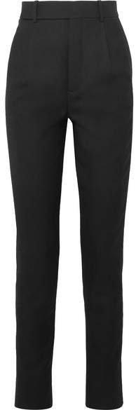 Metallic-trimmed Wool-twill Straight-leg Pants - Black