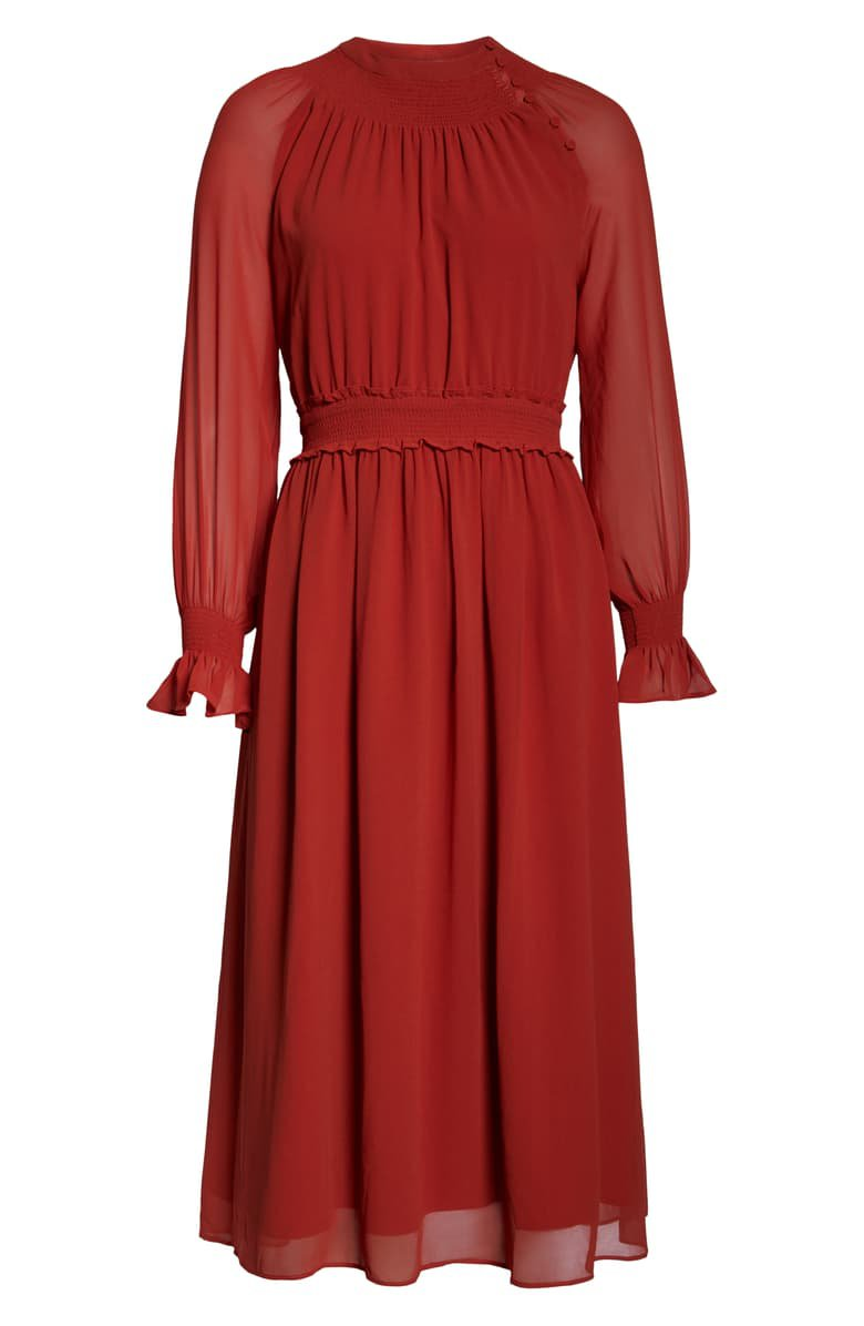 Chelsea28 Smocked Neck Long Sleeve Chiffon Midi Dress | Nordstrom