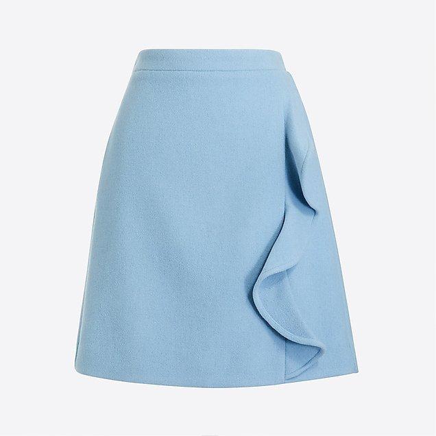 Ruffle-front mini skirt in double-serge wool : FactoryWomen Mini & Knee Length Skirts | Factory