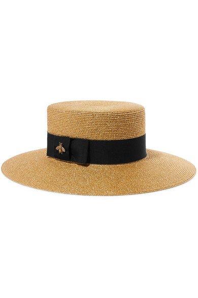 Gucci | Grosgrain-trimmed glittered straw hat | NET-A-PORTER.COM