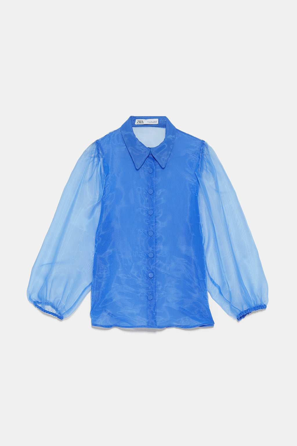 ORGANZA BLOUSE WITH FULL SLEEVES - View All-SHIRTS | BLOUSES-WOMAN | ZARA United States blue