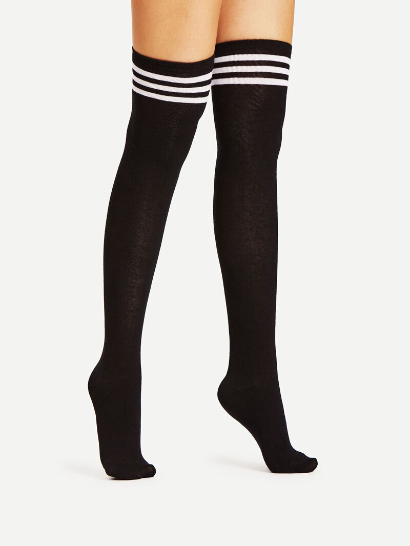 Black Varsity Stripe Over The Knee Socks | ROMWE