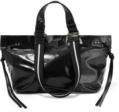 Bagya Canvas-trimmed Glossed-leather Tote - Black