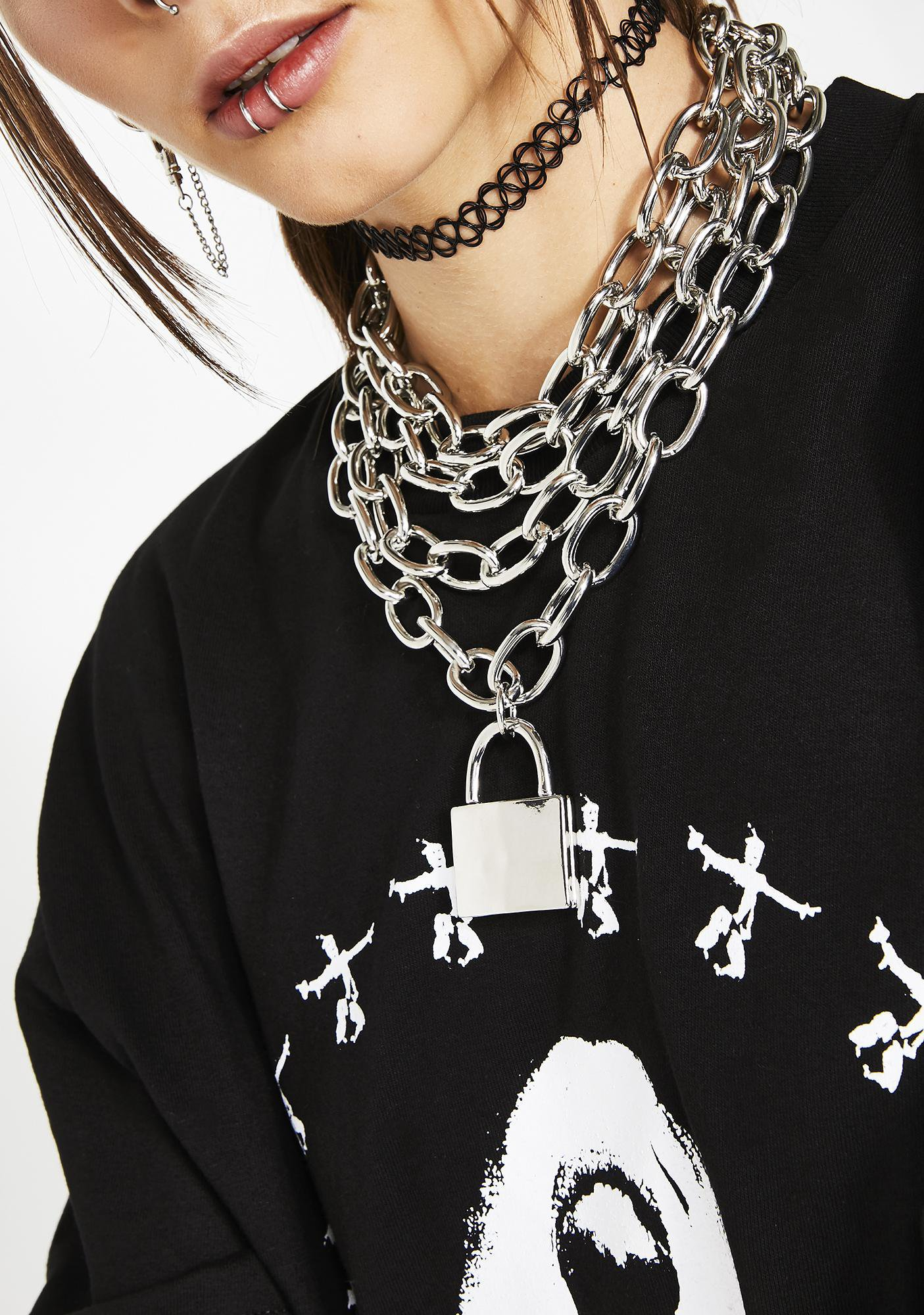 Layered Lock Chain Necklace | Dolls Kill