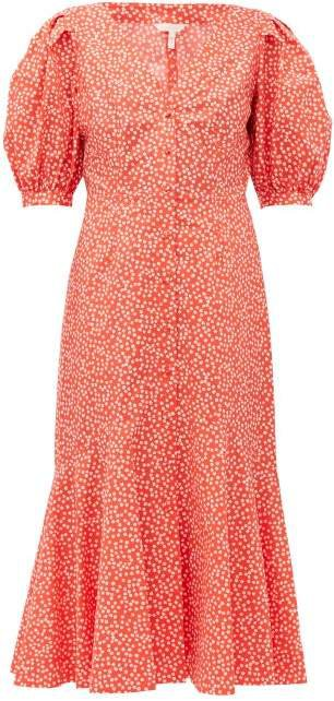 Malia Floral Print Cotton Poplin Midi Dress - Womens - Red Multi