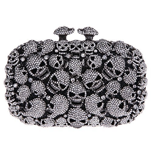 Fawziya® Skull Purses And Handbags For Women Kisslock Crystal Evening Clutch Bags-Black   shopswell