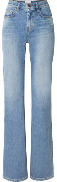 The Scooped Jarvis Mid-rise Flared Jeans - Light denim