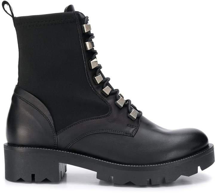 stud embellished biker boots