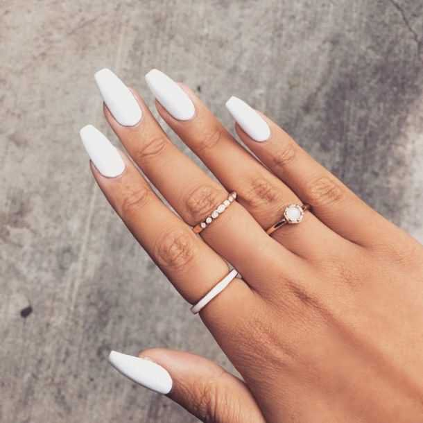 white acrylic nails - Google Search