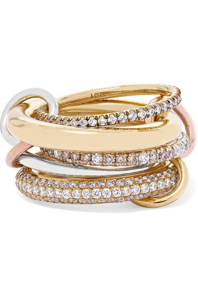 Spinelli Kilcollin   Nexus Blanc set of five 18-karat yellow and rose gold and sterling silver diamond rings   NET-A-PORTER.COM