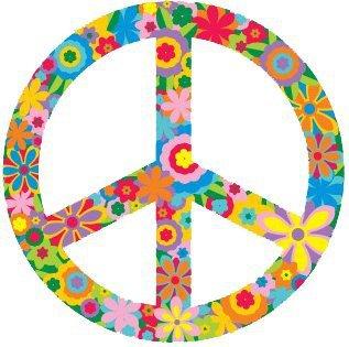 """Amazon.com: Flower Peace Sign / Symbol – Hippie, Peace / Anti-war Bumper Sticker / Decal (3"""" circular): Automotive"""