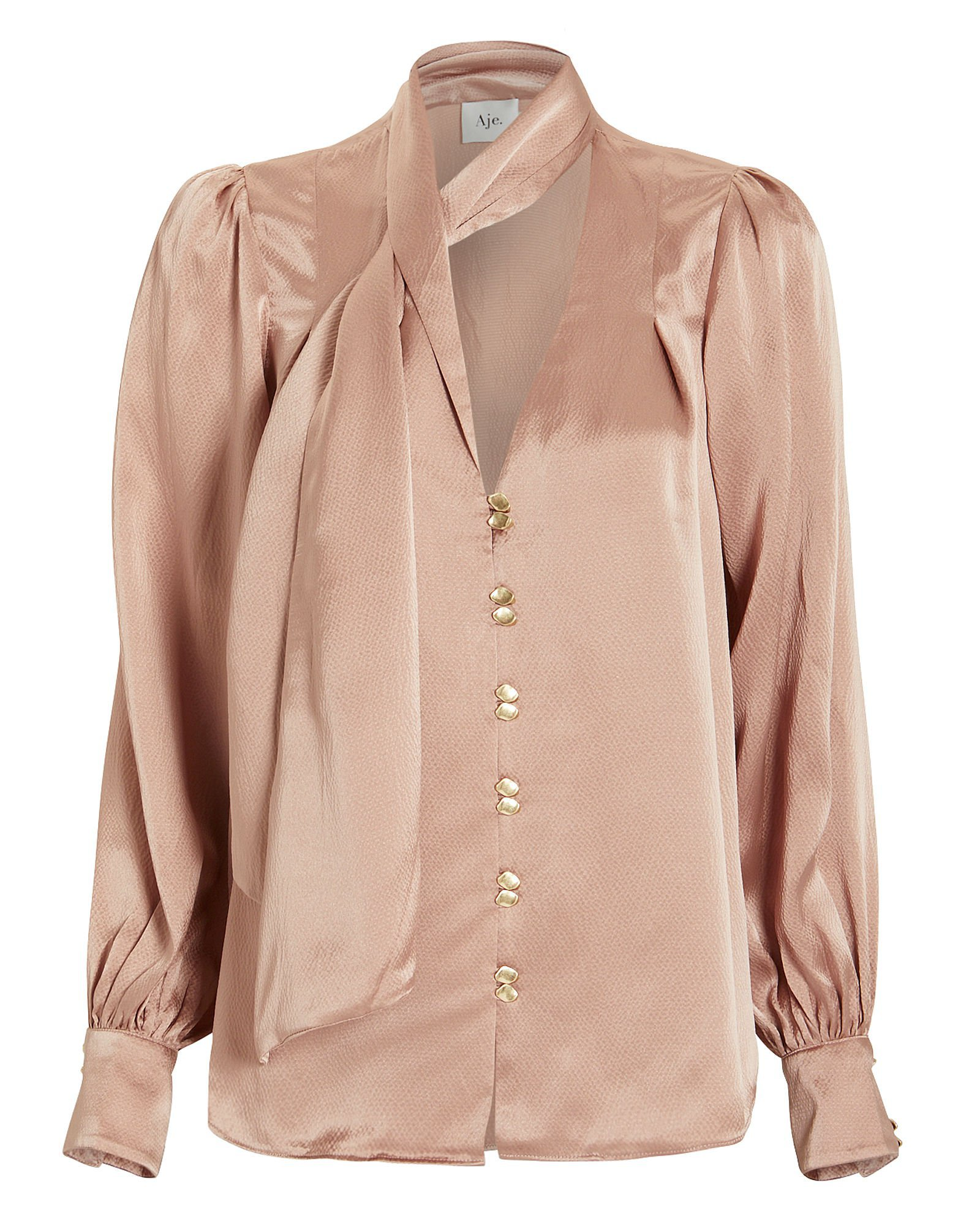Astrid Hammered Silk Button Front Blouse