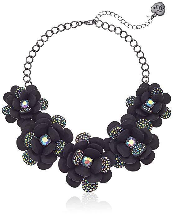 Amazon.com: Betsey Johnson (GBG) Betsey's Dark Magic Large Flower Statement Necklace, Black, One Size: Gateway
