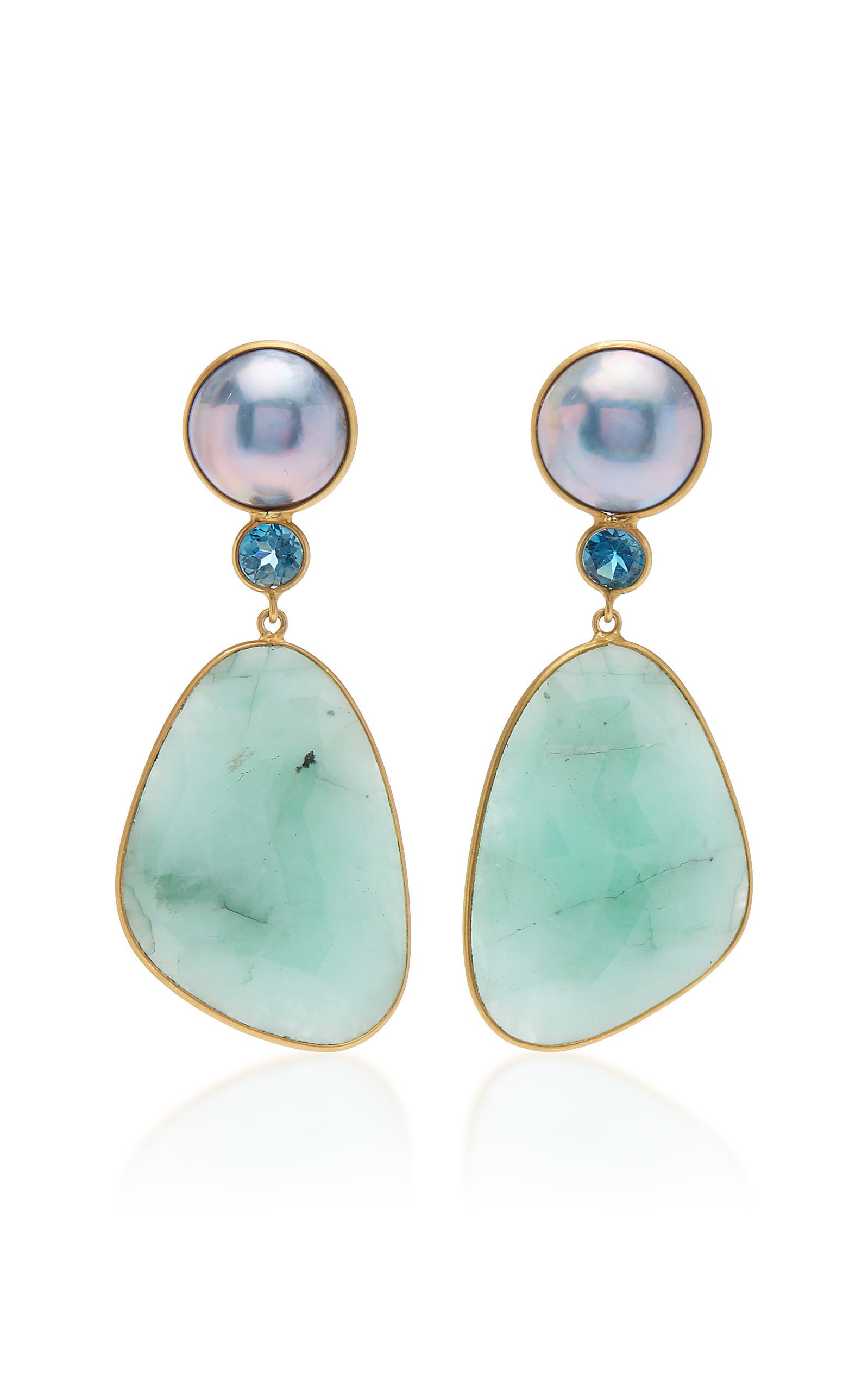 Bahina One of a Kind Earrings with Blue Mabe Pearl London Blue Topaz and Emerald