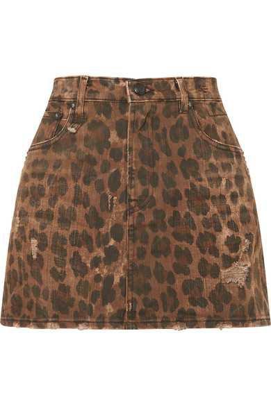R13 | Distressed leopard-print denim mini skirt | NET-A-PORTER.COM